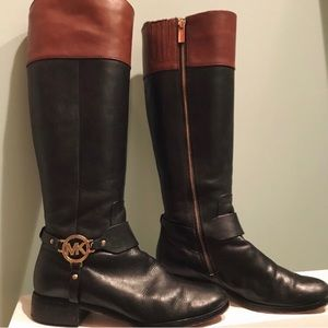 Michael Kors Fulton harness leather riding boots.